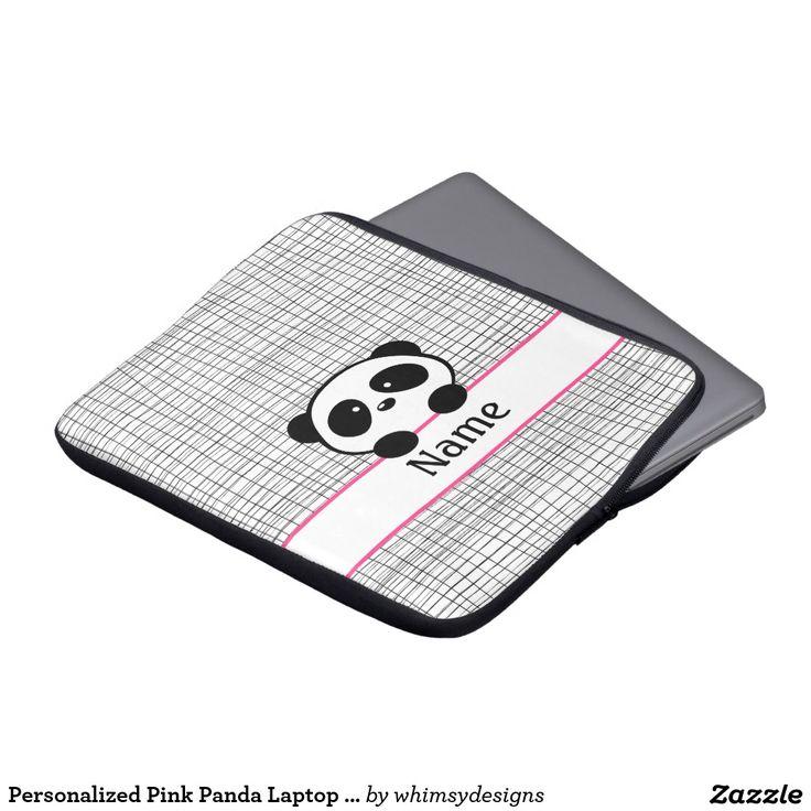 Personalised Pink Panda Laptop Sleeve - 13 inch