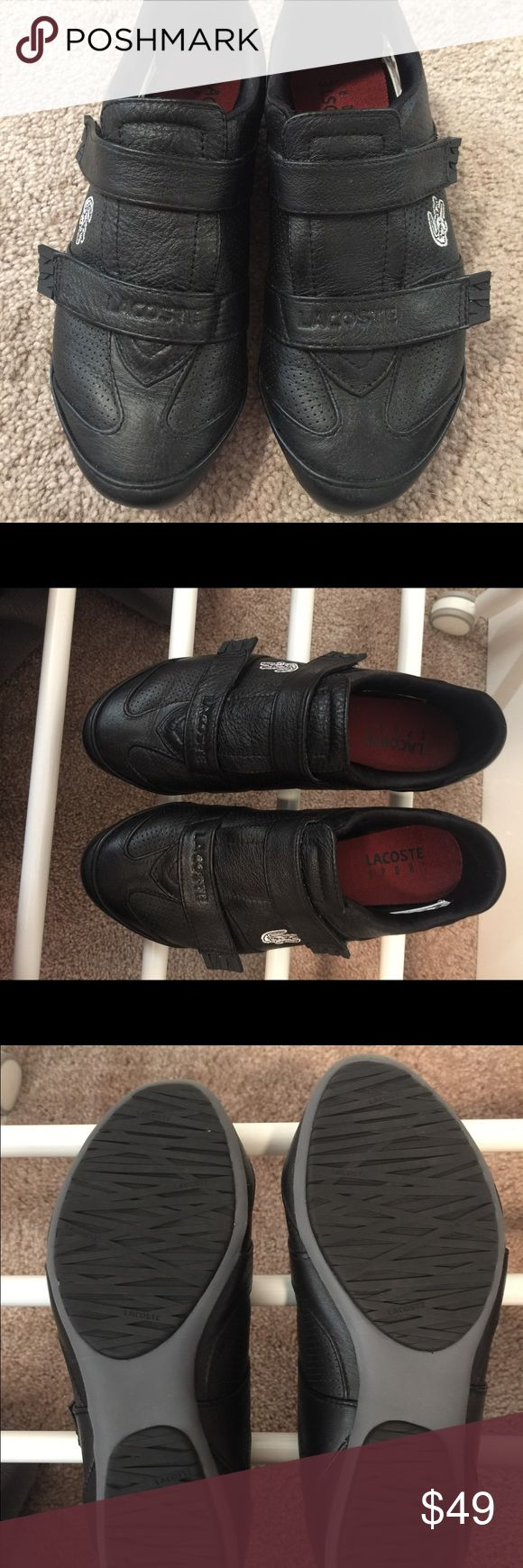 Lacoste leather Sneaker With Velcro Straps SZ 5 This leather Lacoste Sneaker with the velcro straps is so easy to slip on and off.  The leather is soft and and comfortable for walking.  The condition is great, only worn it a few time. Lacoste Shoes Sneakers