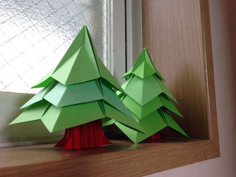 #おりがみ 今日の折ってみた:クリスマスツリー