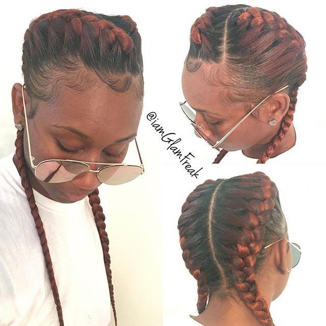 Two goddess braids  #GlamFreak #GlamFreakOnHair #GoddessBraids #LAHairStylist