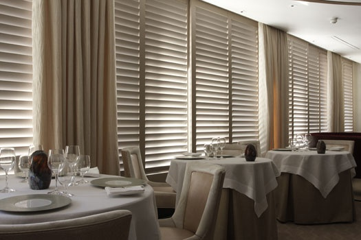 Petrus Restaurant, Knightsbridge | Luxurious Baby Ostrich Fawn Majilite covered shutters