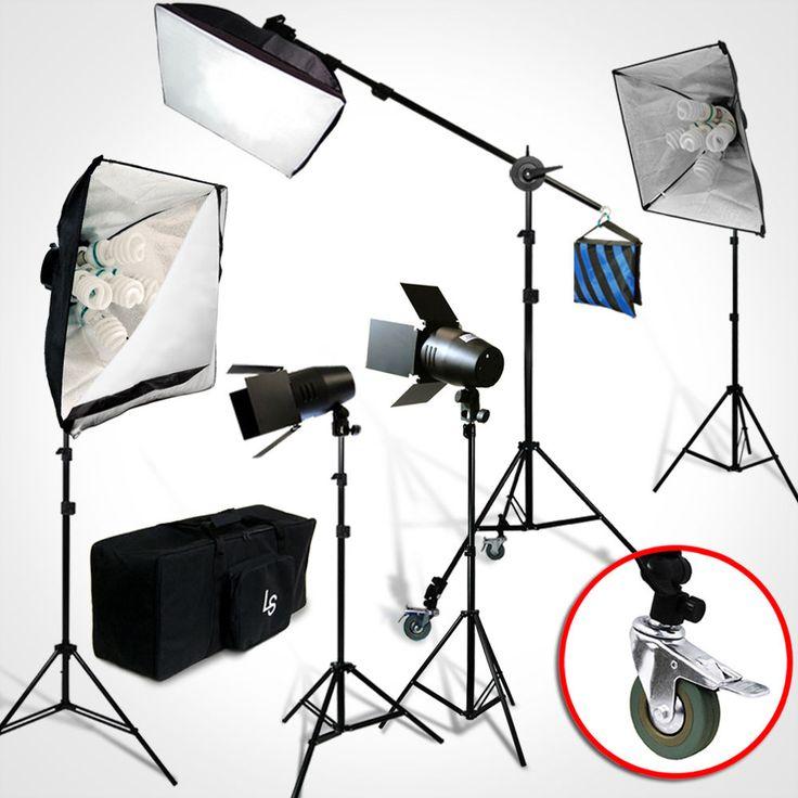 Julius Studio 3000W Photography Light Bulb Softbox Boom Stand Photo Lighting Kit #JuliusStudio