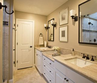 Taupe & Beige Bathroom with Oil-Rubbed Bronze Fixtures, Hardware and Espresso Mirrors - houston - by Karen Davis Design