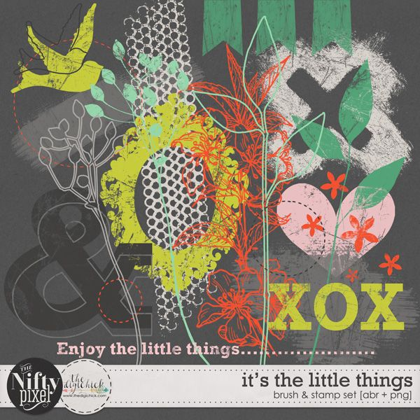 IT'S THE LITTLE THINGS | Textures Oh how I love a 'nifty' lil brush set to create some grungy textured backgrounds with and well this one sure fits the bill. It includes some spring inspired motifs including, foliage, birds and of course hearts, we all love the smell of spring. This set will surely become your 'go to' brush tool.  DOWNLOAD INCLUDES:  22X Brush Tips (.abr file) 22X Digital Stamps/Textures (.png) All products are saved at 300ppi for optimum printing quality.