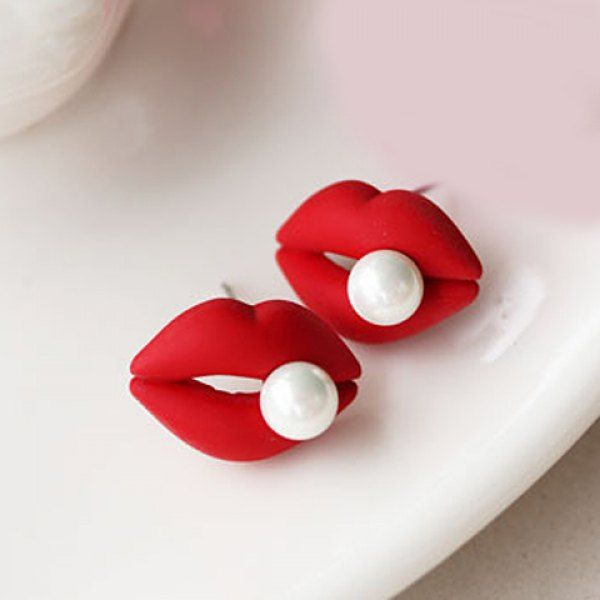 Pair of Delicate Faux Pearl Decorated Lip Stud Earrings For Women, RED in Earrings | DressLily.com