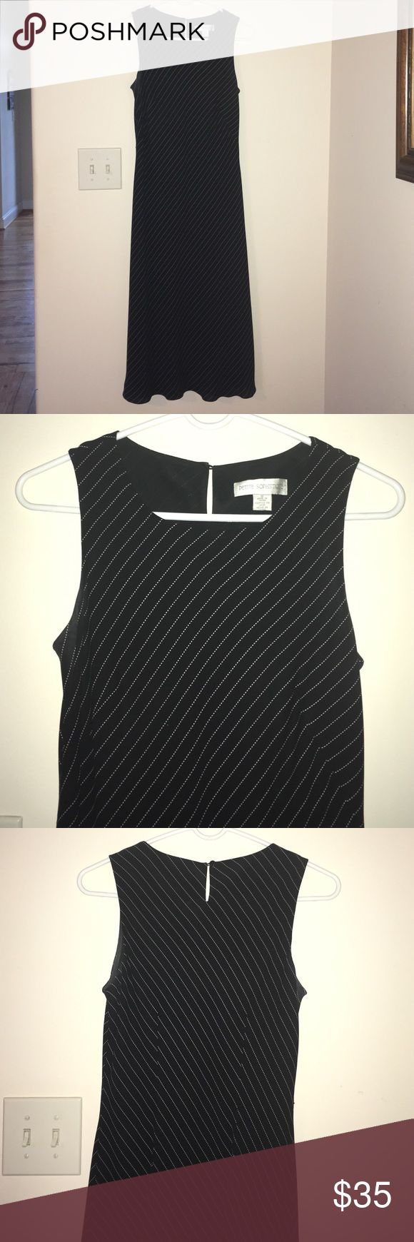 Dress Size 10 black and white striped dress. Petite Sophisticate Dresses