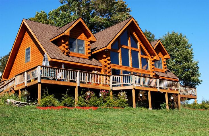 31 best images about log home decks porches on pinterest for Log home decks