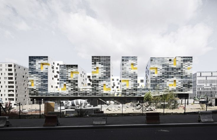 Apartment Blocks in Nanterre by X-TU - pixel facade