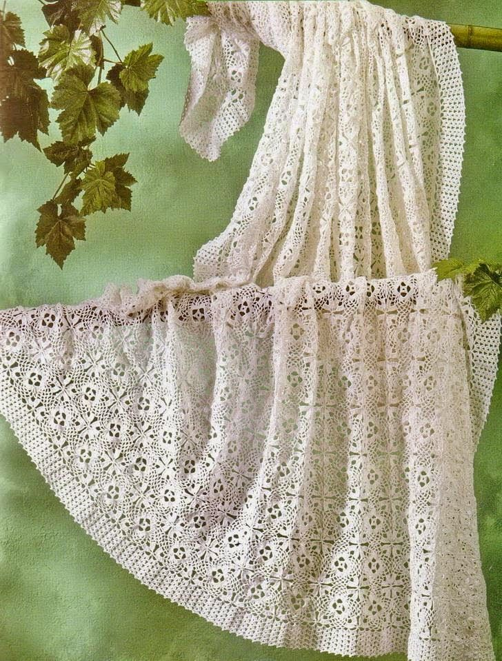 Crochet Pattern Of Tablecloth Or Bedspread - Beautiful Square Motif