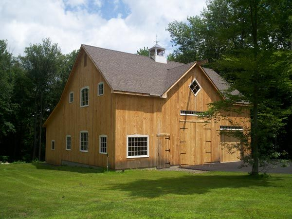 Broken back salt box post beam barn kit barn building for Maine post and beam kits