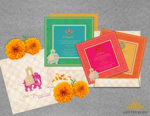 Bright Indian wedding cards with elephant motif