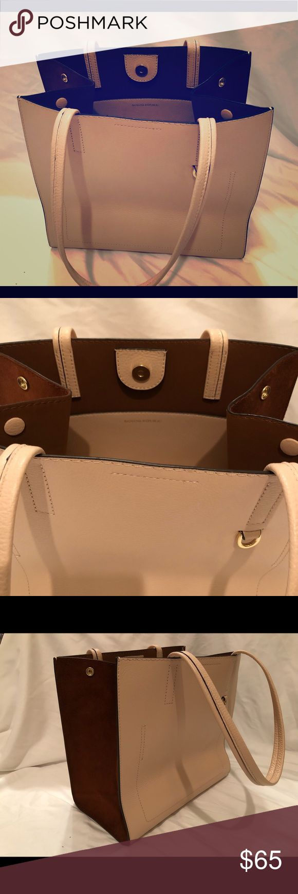 Banana Republic Trapeze Tote Bag Super elegant bag! Carried twice. Looks brand new. It's a very light pink/beige color. Banana Republic Bags