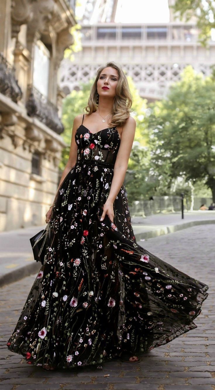 30 Dresses In 30 Days Day 12 Black Tie Wedding Long Black Floral Embellished Dress With Black Clutch Classy Dress Guest Dresses Wedding Guest Dress