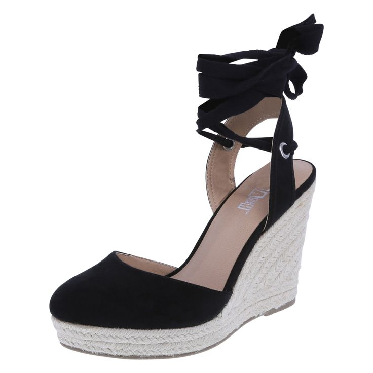 """Whether heading out on vacation or just longing for a getaway, this wedge will fit the bill! It features a faux suede upper with closed toe, ankle sling and ankle wrap, faux leather lining, padded insole, woven jute-covered 4"""" wedge and 1"""" platform, and a durable outsole. Manmade materials."""