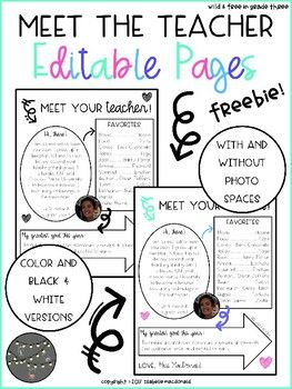 """FREEBIE! This """"Meet Your Teacher"""" page is simple and sweet! This is perfect to edit and send in the mail before the first day of school arrives to give your students a chance to get to know some of the great details about YOU! Editables Included: - B&W Meet Your"""