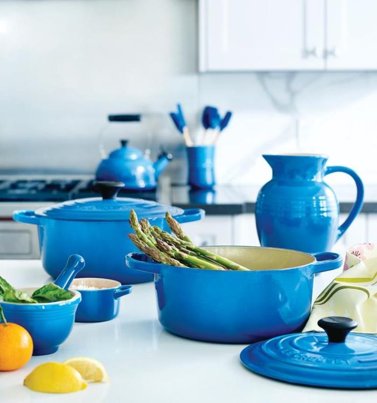 Add a touch of spring to your stovetop with Le Creuset's enamelled cookware in one of the brand's most-loved hues, Marseille Blue. #TheArtofLiving