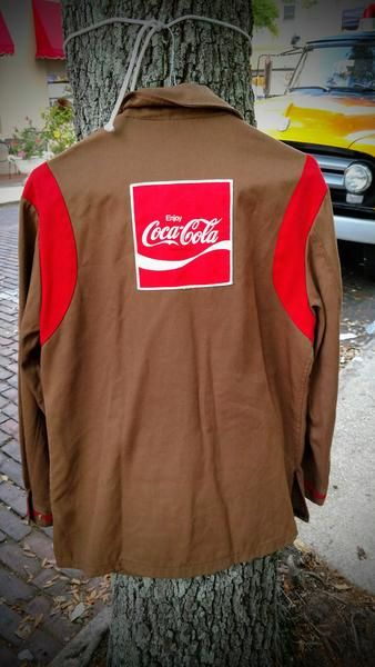 1970s Vintage Brown Long Sleeve Coca-Cola Work Uniform Shirt Size Large