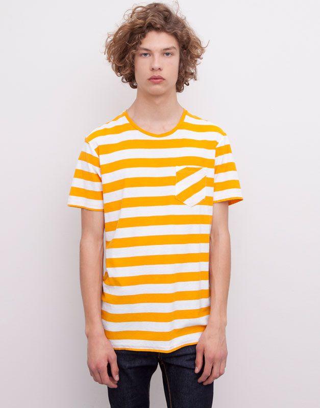 Pull&Bear - heren - t-shirts - t-shirt met horizontale strepen en zak - half oranje - 05242524-I2015
