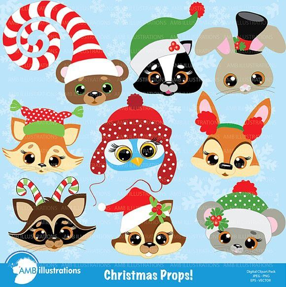 Christmas Critters Clipart Amb 504 Animal Clipart Christmas Animals Christmas Clipart