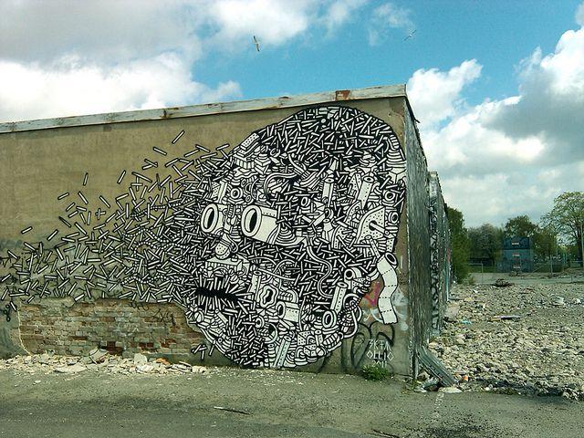 """Dissolving Head"", a new wall painting by Ekta & Ollio in Gothenburg, Sweden."