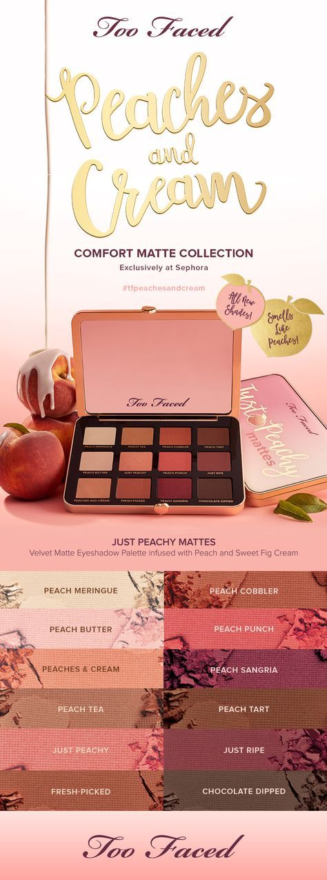 ARRIVING 9/1* ADD TO WISHLISTNOTIFY ME ON RESTOCK Just Peachy Mattes is infused with refreshing peach and sweet fig cream in our exclusive modern comfort matte formula for intense color payoff that's beyond blendable. Create endless looks with 12 matte shades of warm peaches, buttery creams, and rich browns that smell and feel oh so good. #tfpeachesandcream #toofaced