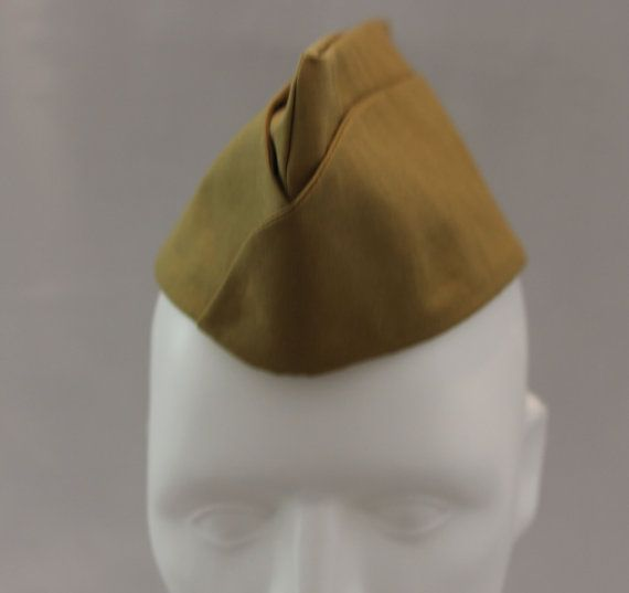 Light Olive Green Army Hat Military Cap Wedge Hat by MGDclothing