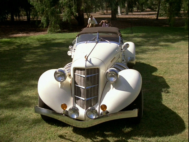 "the Auburn Speedster (replica) from ""Remington Steele"" I'm quite in love with this car. Have been since I was about 12."
