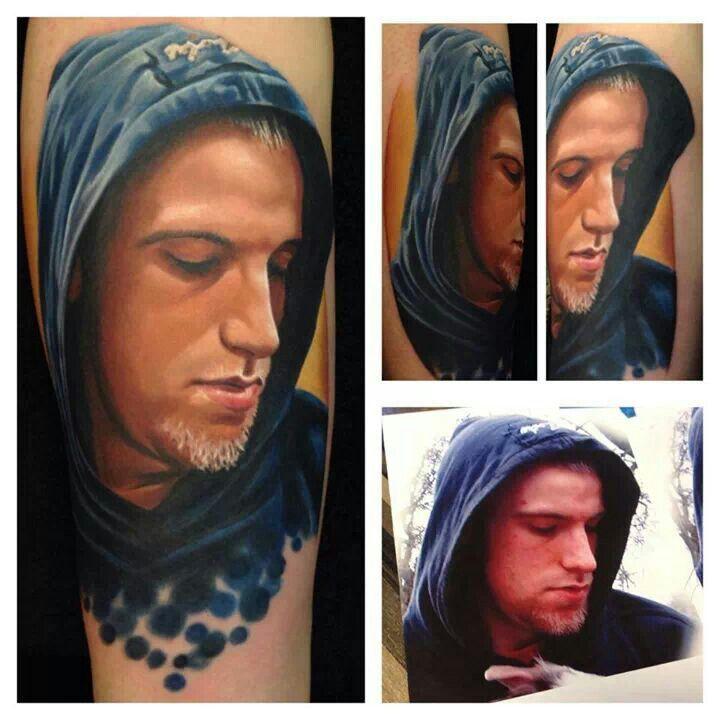 Portrait tattoo of man in hoodie by Ryan Engelhard ...