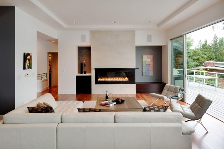 Modern Living Room with Fireplace | ... Contemporary Living Room Extension Designs White Sofa Modern Fireplace