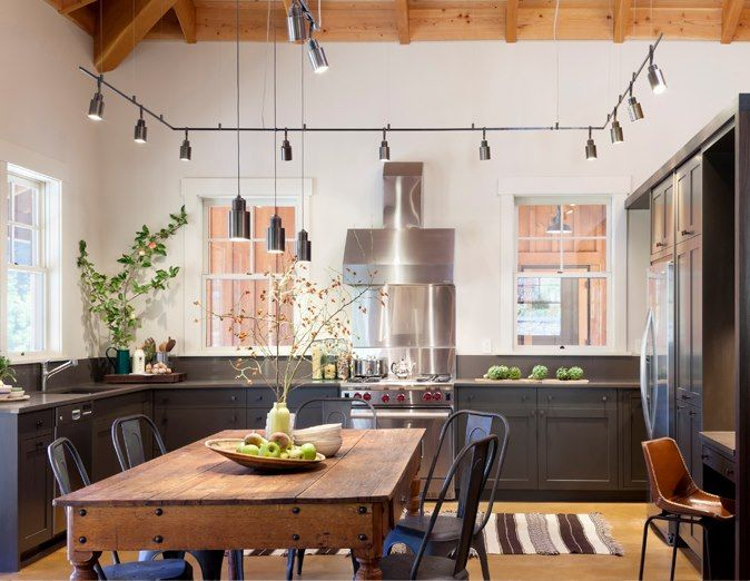 Industrial Kitchen Design With Perimeter Track Lighting And Rustic Wood  Plank Ceiling. KItchen .