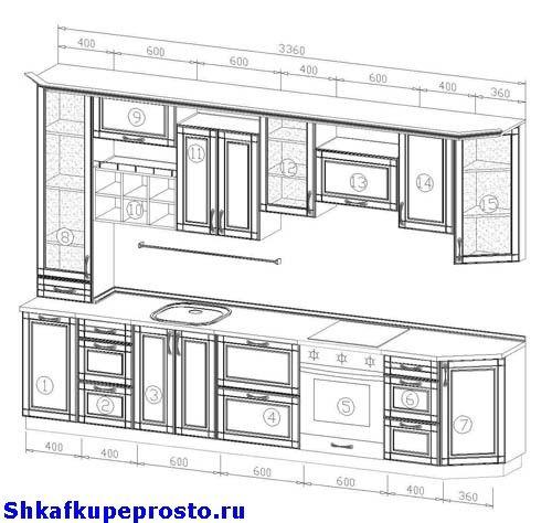 Фото проекта прямой кухни.