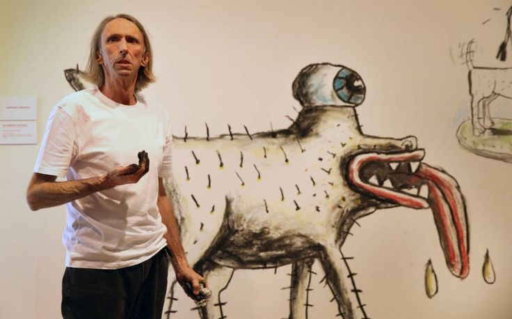 Reg Mombassa and Michael Bell's live Mambo masterpiece - creating Space Dog with saliva