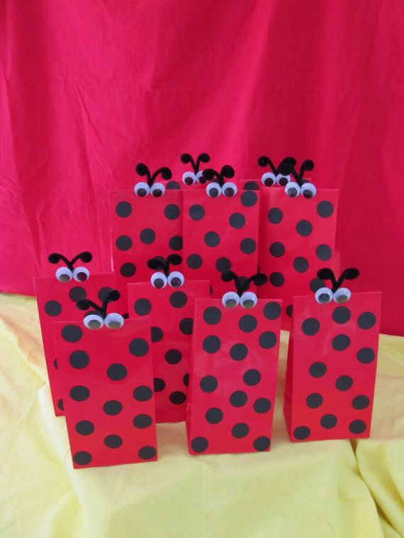 Ladybug Party Goody Bags RED 10 count by DreamComeTrueParties, $20.00