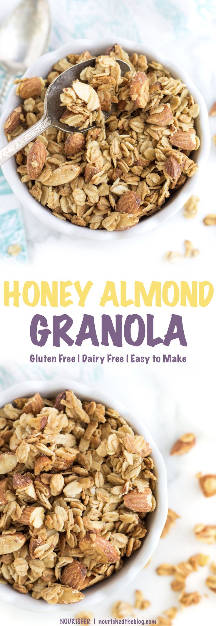 A SIMPLE Honey Almond Granola recipe made gluten free and with only 6 ingredients like toasty oats, crunchy almonds and sweet, sweet honey! This healthy breakfast recipe is a delicious way to start to your day.