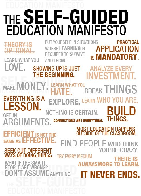 Self guided education manifesto. I love this! It's absolutely perfect for homeschoolers-after all, we're the epitome of self-guided education. Great article with it too, I highly recommend a read.