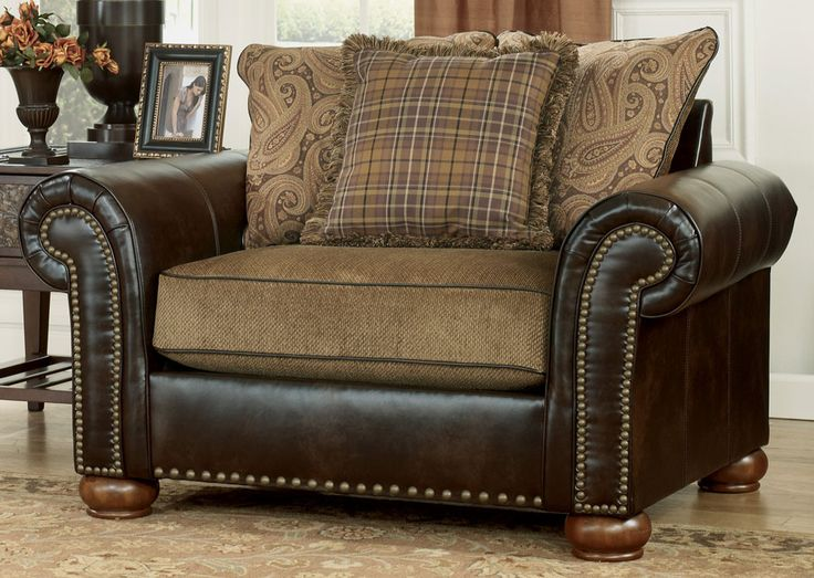 Briar Place   Antique Fabric/Faux Leather Chair And A Half By Signature  Design By Ashley   Becker Furniture World   Chair U0026 A Half Twin Cities,  Minneapolis, ...