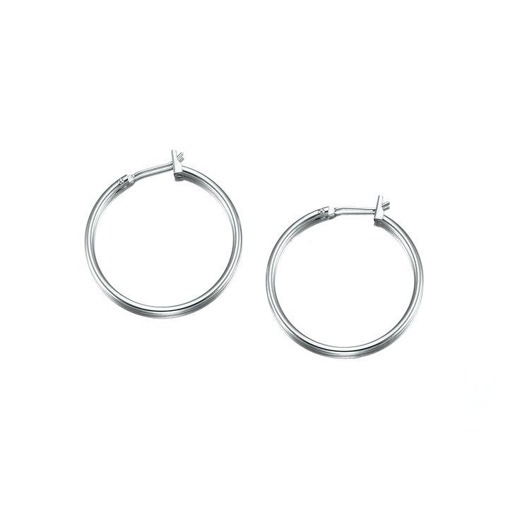 White Gold Layered Medium Hoop Earring | Allure Gold