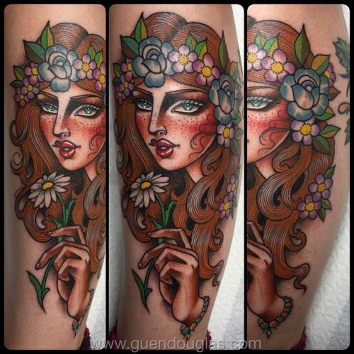 Hippie girl tattoo by Guen Douglas