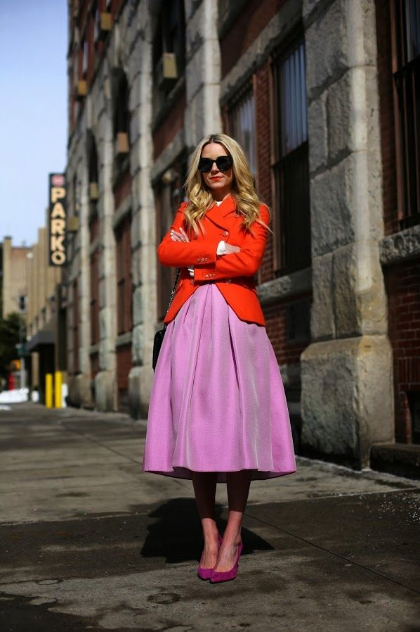 Blair Eadie of Atlantic-Pacific in a red blazer, lilac midi skirt, and megenta pumps #StreetStyle