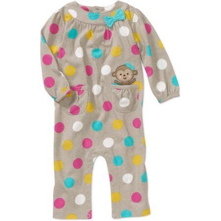 Child of Mine Carters Newborn Girls' Dot Print Jumpsuit, Gray