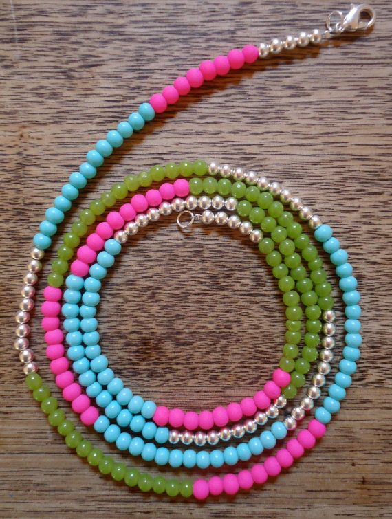 Hazy Daze Long beaded strand necklace in sky blue, grass green, neon pink and silver. By CustardFox on Etsy $21