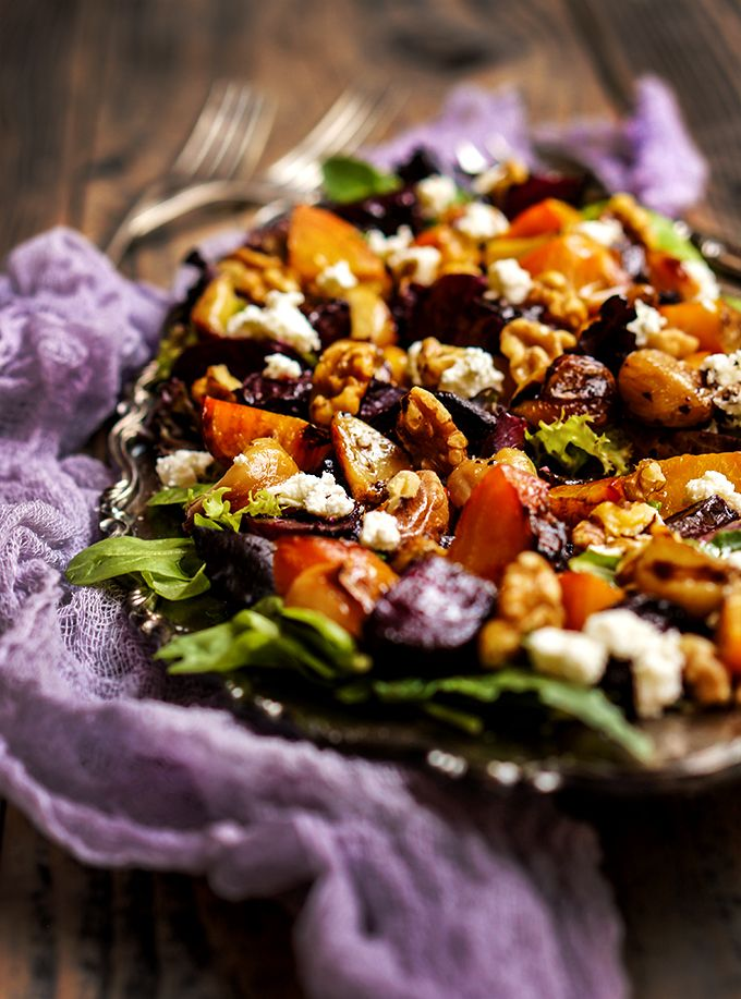 Roasted beets salad with caramelized garlic, toasted walnuts and goat ...