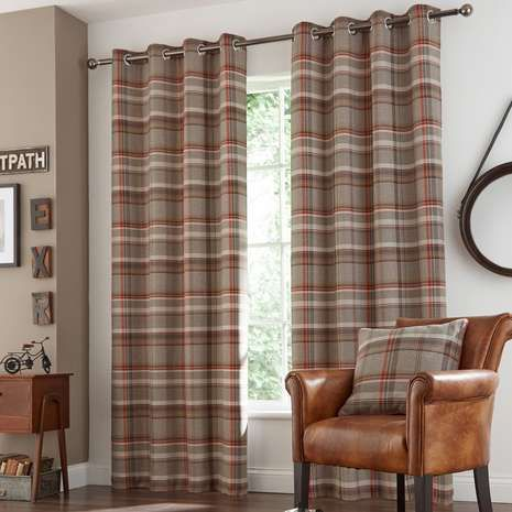 Rust Hoxton Lined Eyelet Curtains | Dunelm