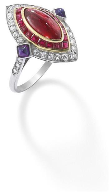 A ruby, diamond and sapphire ring | Joyeria