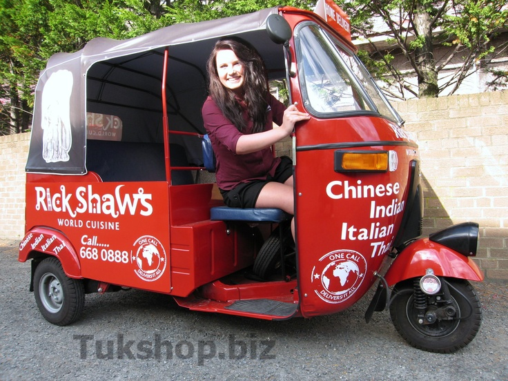 Bajaj tuk tuk from www.tukshop.biz off to work at Rickshaws of Edinburgh.