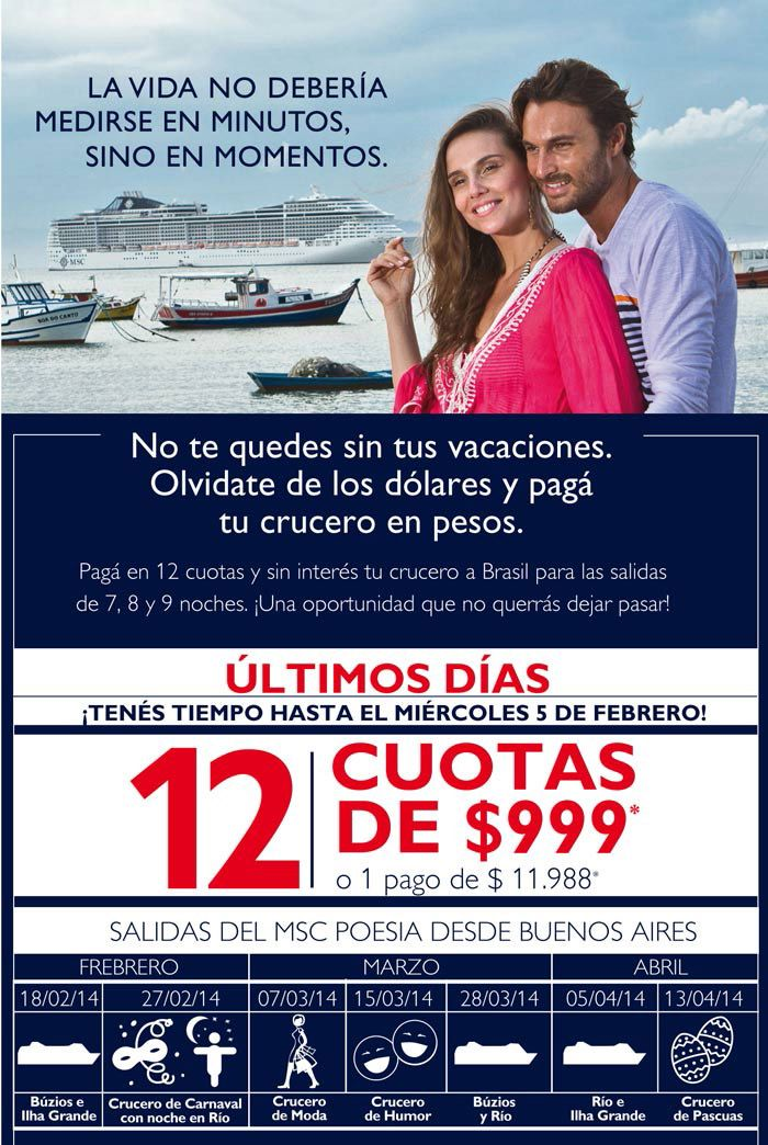 ULTIMOS DIAS! Se extendio la promo de #MSC cruceros, paga tu crucero en 12 cuotas de $999 con Mastercard de cualquier banco o un pago de $11.988.- NO TE QUEDES SIN TU RESERVA!