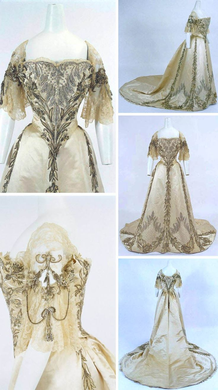 Evening gown, Jean-Philippe Worth, ca. 1898. Satin, lace, embroidery with rhinestones and gold thread. Bunka Gakuen Costume Museum