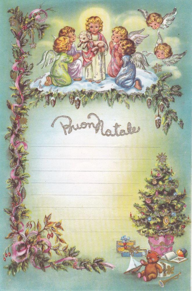Cartoline Di Natale Anni 30.Details About Letterina Di Natale Con Brillantini Non