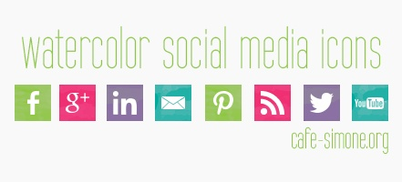 Watercolor social media icons for your personal use. Do you want free AND super cute social media icons? Visit cafe-simone.org for social media icons. http://cafe-simone.org/blog/you/social-media-icons/ #socialmediaicons #freebies