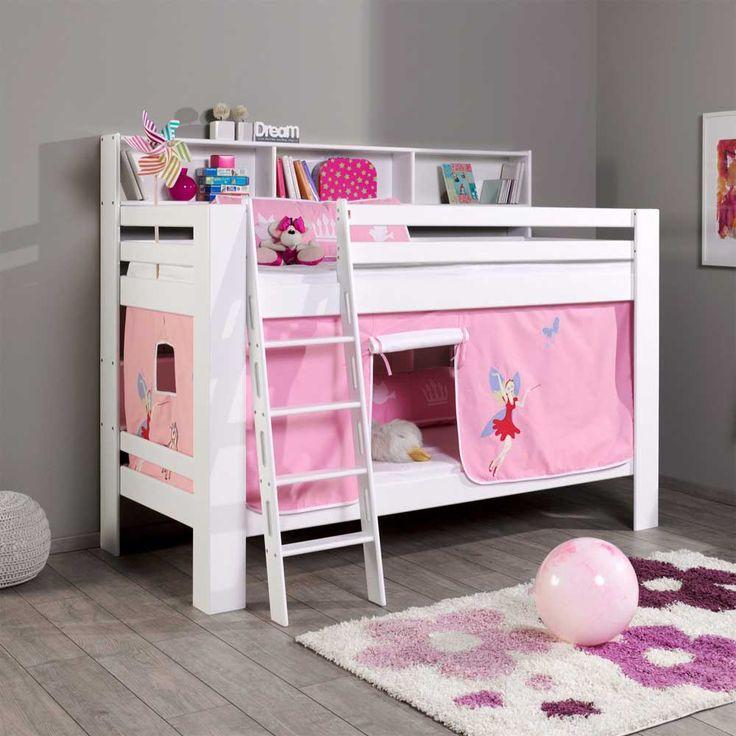 Luxury Fee Etagenbett mit Vorhang in Wei Rosa Buche Massivholz Jetzt bestellen unter https moebel ladendirekt de kinderzimmer betten etagenbetten uid udacacd